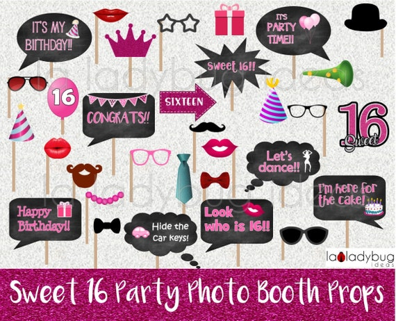 Sweet 16 Photo Booth Props Printable Diy Sweet Sixteen Party Etsy