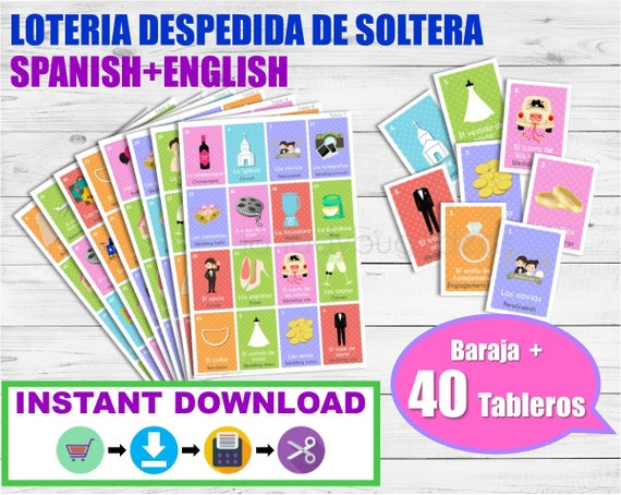 Loteria Despedida De Soltera Ingles Espanol Para Imprimir Etsy