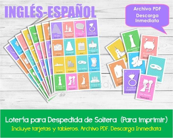Loteria Para Despedida De Soltera Ingles Espanol Imprimible Etsy