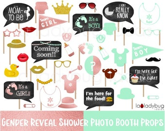 Gender reveal baby shower photo booth props. Rose gold and mint.  Printable DIY baby shower props. Instant download. Boy or girl. He or she