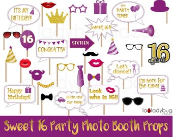 Sweet 16 party photo props. Printable. Golden and Purple. DIY Sweet sixteen photo booth prop for pictures. Instant download PDF Digital file