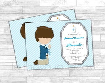 First Communion Invitation for boy. Blue, white, silver baptism or first communion. Invitación Primera Comunión o Bautizo de Niño, Azul