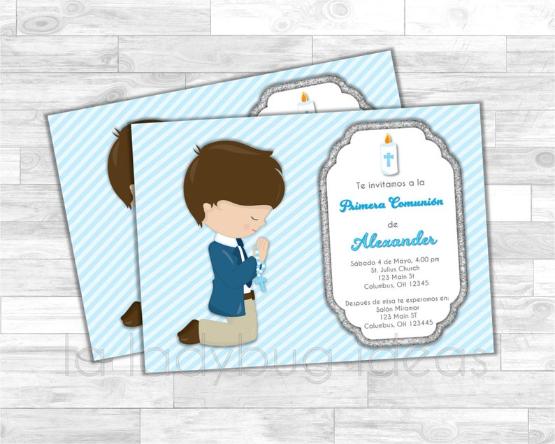 First Communion Invitation For Boy Blue White Silver Etsy