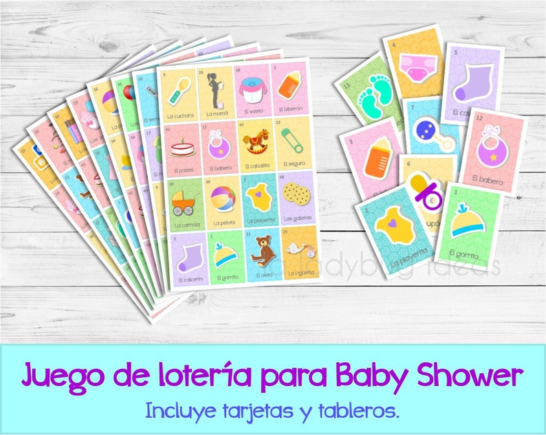 Baby Loteria Printed Loteria Para Baby Shower Mexican Etsy