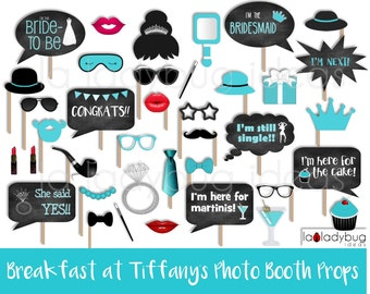 Breakfast at Tiffany's photo booth props. Printable. DIY Bridal shower, bachelorette party. Instant download. PDF file. Audrey Hepburn.