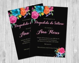 Invitación despedida de soltera mexicana para imprimir. Mexican inspired bridal shower invitation. Fiesta mexicana. Despedida de soltera.