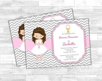 Invitación Primera Comunión de Niña, Rosa. Pink invitation. First Communion Invite for girl. Pink, white, silver baptism or first communion