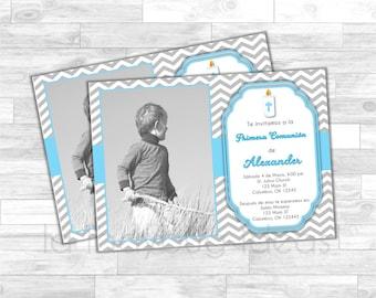 Invitación Primera Comunión de Niño, Azul. Blue invitation. First Communion Invite for boy. Blue, white, silver baptism or first communion