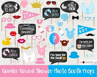 Gender reveal baby shower photo booth props. Printable DIY baby shower bubble speech. Instant download. Boy or girl. He or she. Blue or pink
