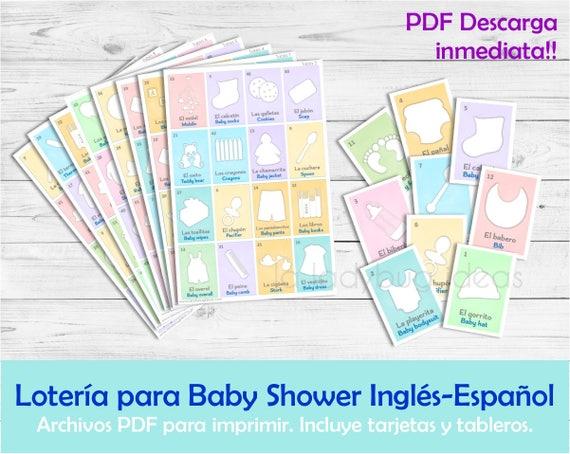 Loteria Para Baby Shower Ingles Y Espanol Juego Para Baby Etsy