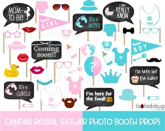 Gender reveal baby shower photo booth props. Pink and aqua.  Printable DIY baby shower props. Instant download. Boy or girl. He or she.