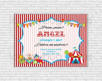 Invitación de cumpleaños  Circo para imprimir, Fiesta circo. Invitación cumpleaños niño o niña. Digital e imprimible. Invitación cumpleaños