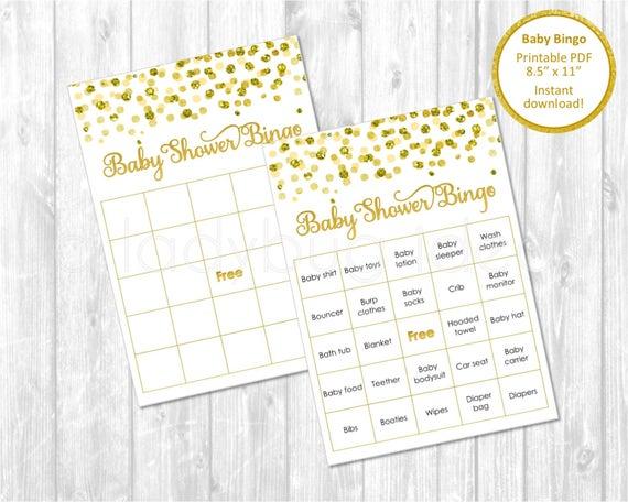Baby Dusche Bingo Karten Druckbare Baby Shower Spiele Gold Etsy