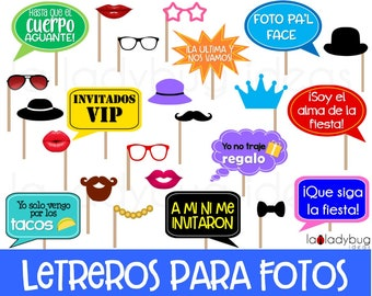 Letreros para fotos de fiesta. Archivo PDF para imprimir. Spanish photo booth Fiesta. Fiesta photo props in Spanish. Carteles para selfie.