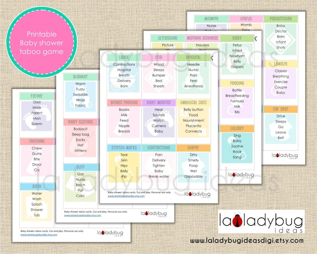 Baby Shower Taboo Printable Game Baby Shower Taboo Printable Etsy