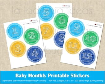 Baby month printable stickers, colors chalkboard for boy. Instant download. PDF file. Baby monthly milestone digital. Baby month stickers