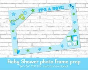 Baby shower frame photo prop. DIY blue photo frame prop. It's a boy frame for selfie station. Boy photo frame. PDF File. Instant download.