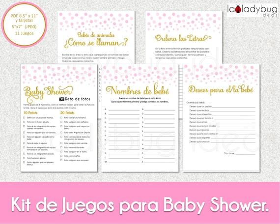 Juegos Baby Shower De Nina Para Imprimir 11 Juegos Baby Etsy