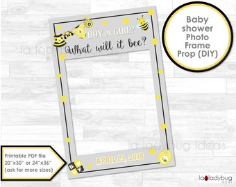 Gender reveal photo frame prop. What will it bee? Baby shower photo prop. DIY PDF Printable. Boy or girl frame prop for selfie station.