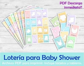 Lotería para Baby Shower en Español. Juego para baby shower. Archivo PDF para imprimir. Printable Baby shower bingo Spanish Instant download