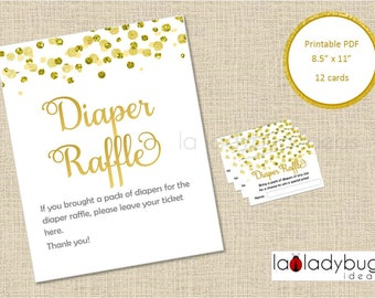 Diaper raffle cards and sign. Gold/white Printable Diaper Raffle cards game. PDF Instant download. Boy, girl or gender reveal baby shower.