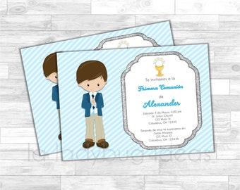 Invitación Primera Comunión de Niño, Azul. Blue invitation. First Communion Invite for boy. Pink, white, silver baptism or first communion