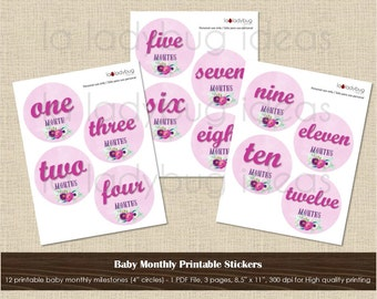 Baby month printable stickers - pink watercolor floral - Instant download, 1PDF file, 300dpi. Baby monthly milestones. Baby month stickers.