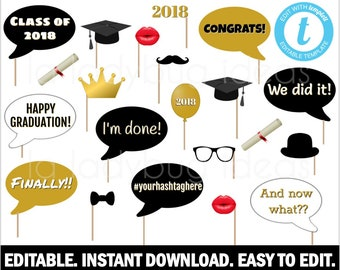 Graduation photo booth props. Editable. Printable file. DIY Graduation photo props. Graduation party props. Instant download. Black and gold