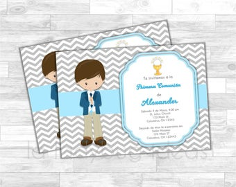 Invitación Primera Comunión de Niño, Azul. Blue invitation. First Communion Invite for boy. Pink, white, silver baptism or first communion