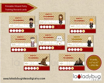 Potty training reward cards Wizard. Printable potty training punch cards for girls or boys. Instant download. JPEG File, High resolution.