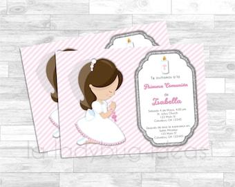 First Communion Invitation for girl. Pink, white, silver baptism or first communion. Invitación Primera Comunión de Niña, Rosa