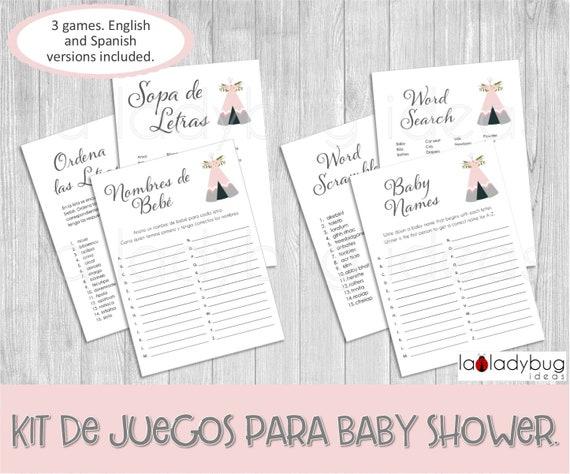 Juegos Baby Shower Para Imprimir Nombres De Bebe Sopa De Etsy