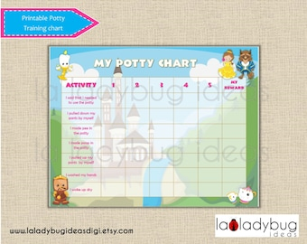 Potty training chart princess girl. Printable potty training chart for girls. Instant download. Digital JPEG File. Reward chart potty train