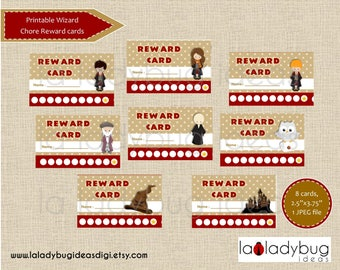 Reward cards Wizard. Printable punch cards for girls or boys. Reward punch cards. Instant download. JPEG File, High resolution.