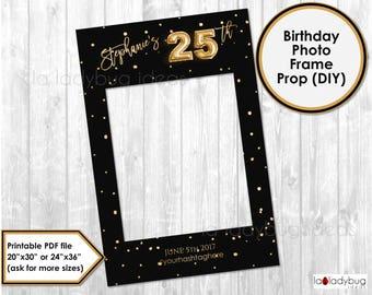 Birthday photo frame prop. 25th birthday photo prop. DIY PDF Printable file. Gold foil balloon birthday frame prop for selfie station.