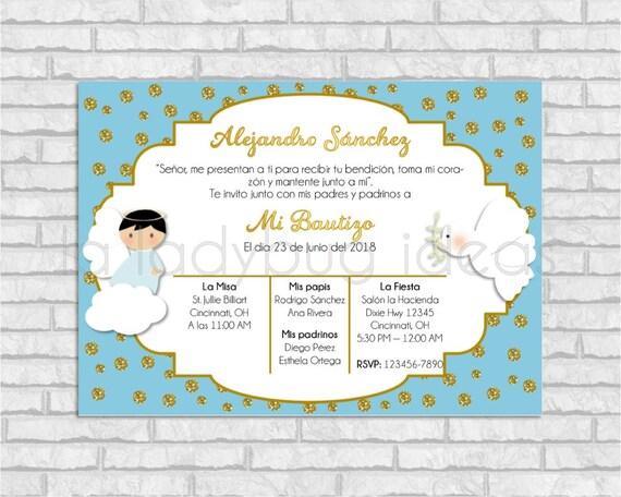 Invitaciones Bautizo Para Niño Azul Y Dorado Blue Invitation Baptism Invite For Boy Golden Baptism Or First Communion Pdf Printable