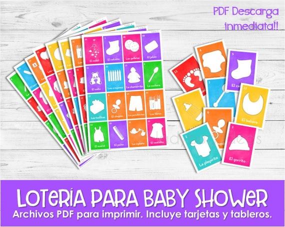 Juego Para Baby Shower Loteria Para Baby Shower En Espanol Etsy