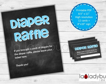 Diaper raffle cards. Blue Printable Diaper Raffle cards (boys). PDF and JPEG files, Instant download.