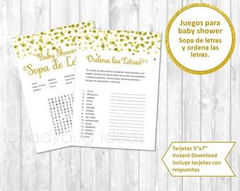 Juegos de baby shower para imprimir. Sopa de letras. Ordena palabras. Descarga inmediata. Baby shower games in spanish. Instant download.