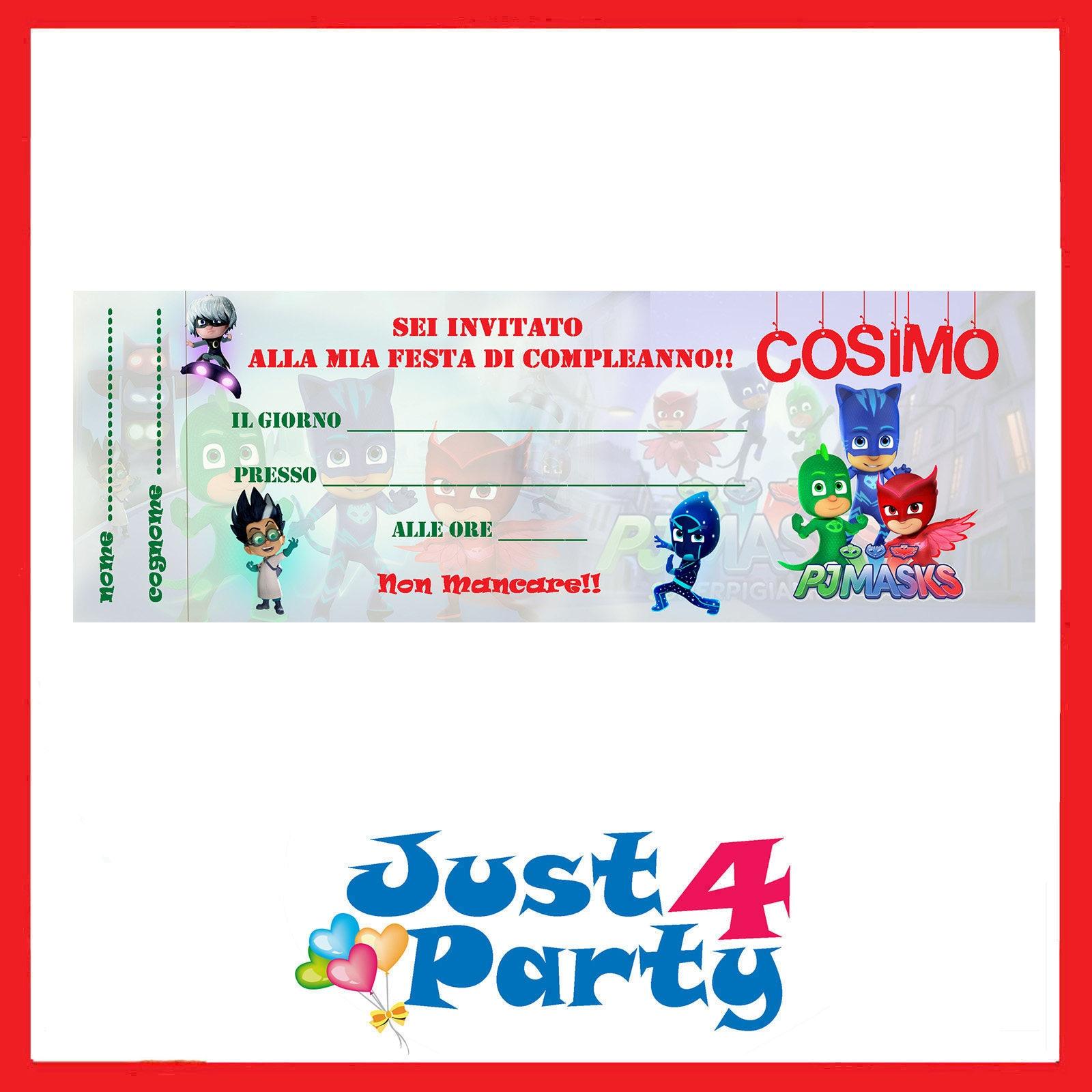 Inviti festa pj masks i super pigiamini compleanno etsy for Super pigiamini da colorare e stampare