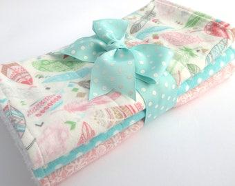 Baby Burp Cloth Set - Set of 3 - Baby Girl - Pink, Green, Aqua Pastel Feather Print, Aqua Polka Dot, Pink Floral Print - White Terrycloth
