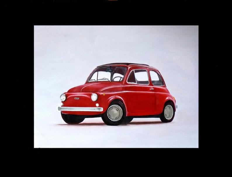 Fiat 500 Painting Handmade Quadro Macchina 27 68 Cm X 19 49 Cm