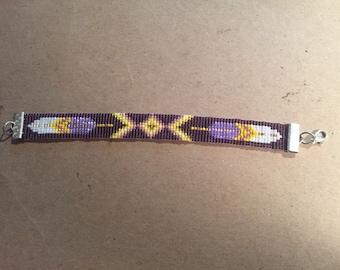 Feather Native American Inspired Pattern, Purple and Gold , Loom Beaded Bracelet, Friendship Bracelet
