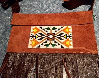 Medicine Bag Pawnee Native Inspired, Glass Loom Beaded, Leather, Fringed Purse / Handbag / Cell Phone Holder