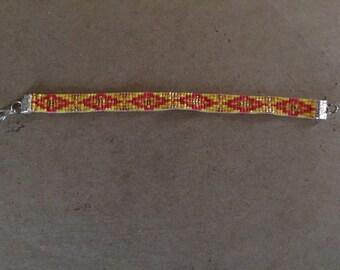 Pink and Yellow, Loom Beaded Bracelet, Native American Diamond Pattern, Glass Seed Beads, Friendship Bracelet
