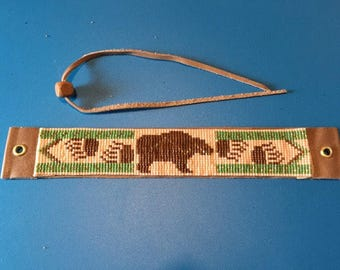 Bear Totem, Native American Inspired, Hunter Green, Gold, and Brown, Loom Beaded Bracelet with Leather back and tie closure