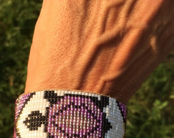 Purple Turtle Totem Beaded Bracelet - Native American Inspired, Leather Back, Loom Beaded with Leather Tie Closure