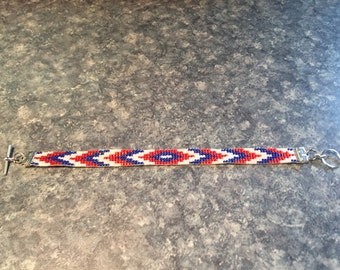 Americana Loom Beaded Bracelet, Native American Pattern, Red, White, and Blue Glass Seed Beads - Unisex