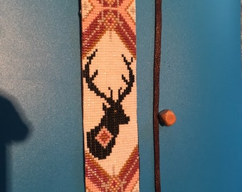 Elk Totem, Native American Inspired, mauve, Rose, black and white. Delica Glass Loom Beaded Bracelet on Soft Black Leather with Tie Closure