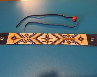 Navajo West, Bohemian, Native American Inspired, Delica Glass, Blue and Brown, Loom Beaded Bracelet with Leather Back and Tie Closure